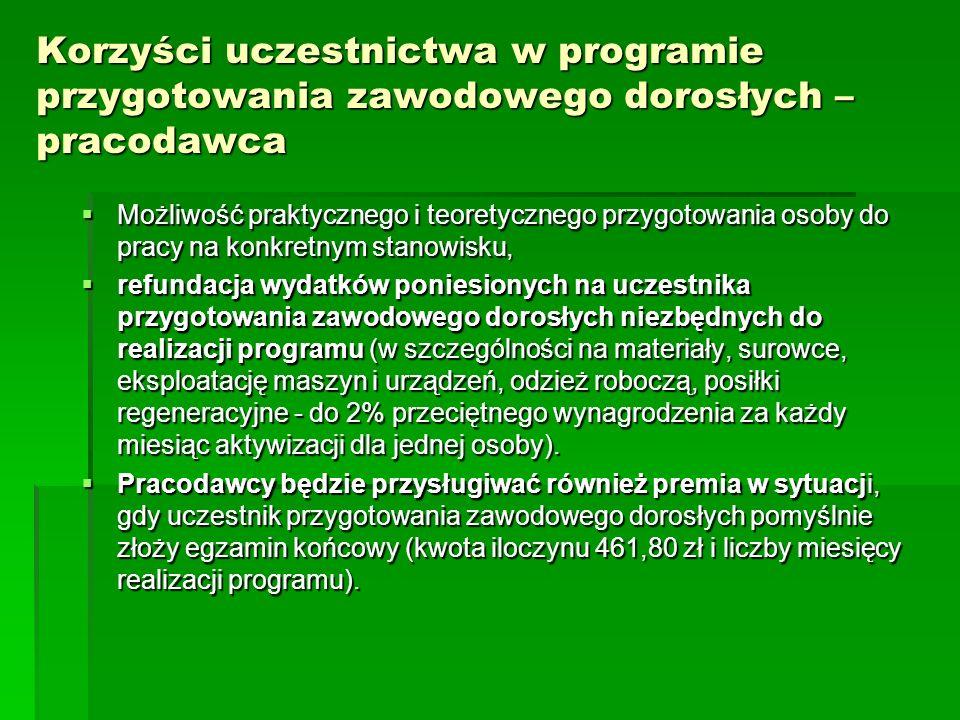 W latach 2010 – 2012 skierowano do odbycia przygotowania zawodowego dorosłych – W latach 2010 – 2012 skierowano do odbycia przygotowania zawodowego dorosłych – 13 osób bezrobotnych z terenu powiatu żarskiego.