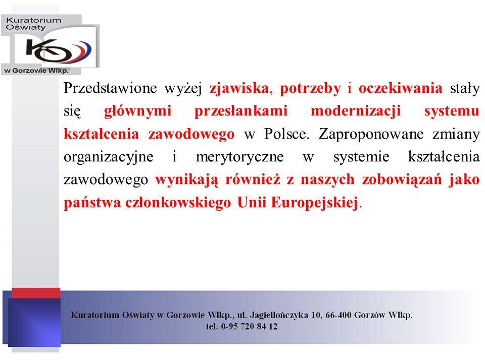Przedstawione wyżej zjawiska, potrzeby i oczekiwania stały się głównymi przesłankami modernizacji systemu kształcenia zawodowego w Polsce. Zaproponowa