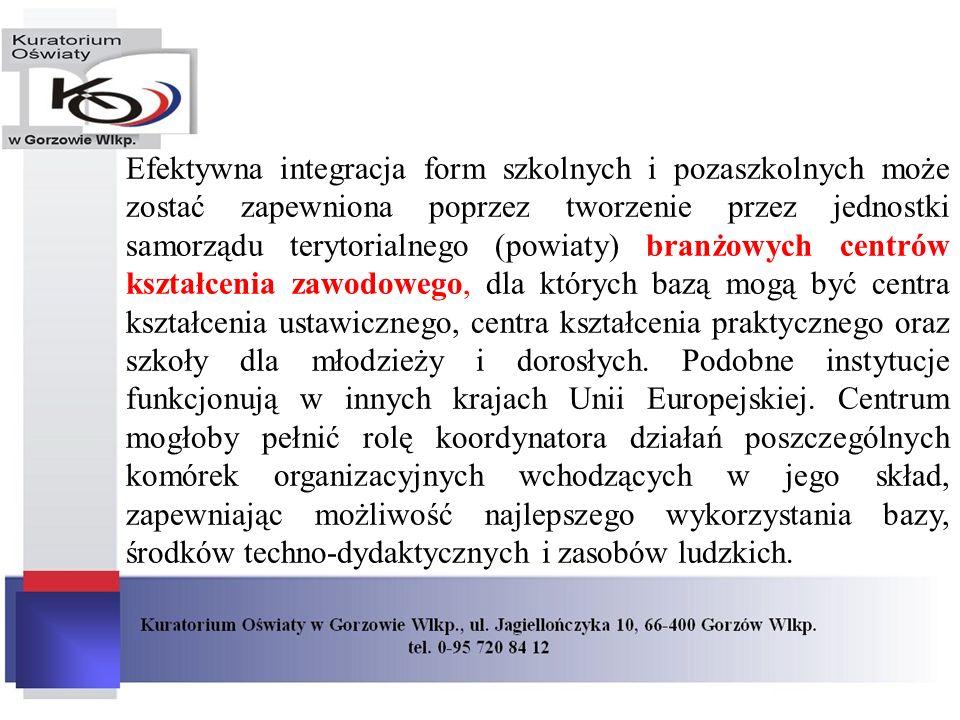 Efektywna integracja form szkolnych i pozaszkolnych może zostać zapewniona poprzez tworzenie przez jednostki samorządu terytorialnego (powiaty) branżo
