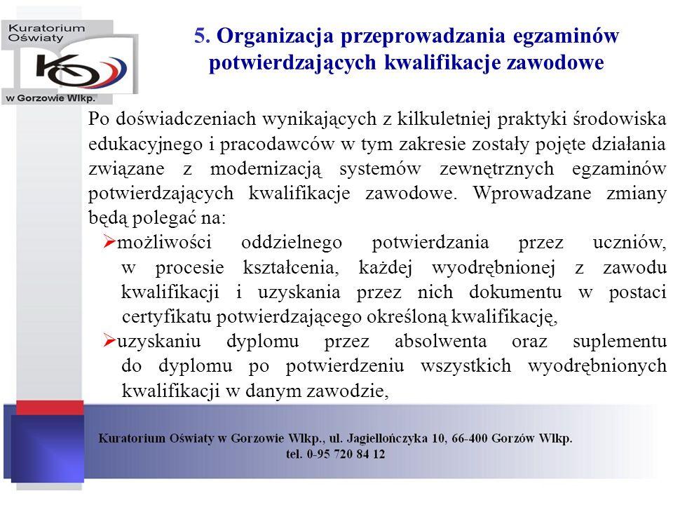 5. Organizacja przeprowadzania egzaminów potwierdzających kwalifikacje zawodowe Po doświadczeniach wynikających z kilkuletniej praktyki środowiska edu