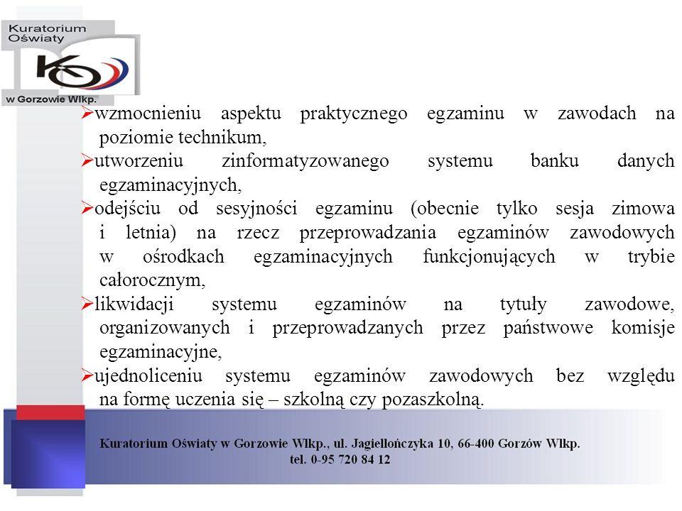 wzmocnieniu aspektu praktycznego egzaminu w zawodach na poziomie technikum, utworzeniu zinformatyzowanego systemu banku danych egzaminacyjnych, odejśc