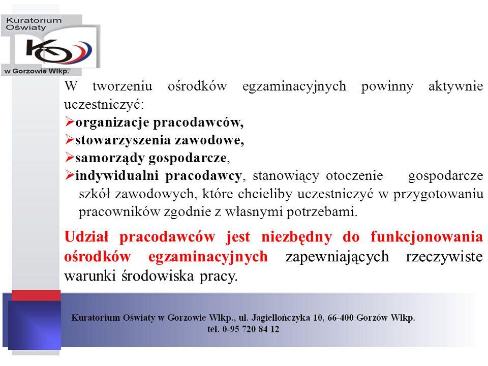 W tworzeniu ośrodków egzaminacyjnych powinny aktywnie uczestniczyć: organizacje pracodawców, stowarzyszenia zawodowe, samorządy gospodarcze, indywidua