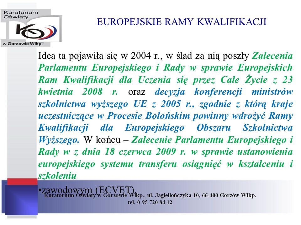 EUROPEJSKIE RAMY KWALIFIKACJI Idea ta pojawiła się w 2004 r., w ślad za nią poszły Zalecenia Parlamentu Europejskiego i Rady w sprawie Europejskich Ra