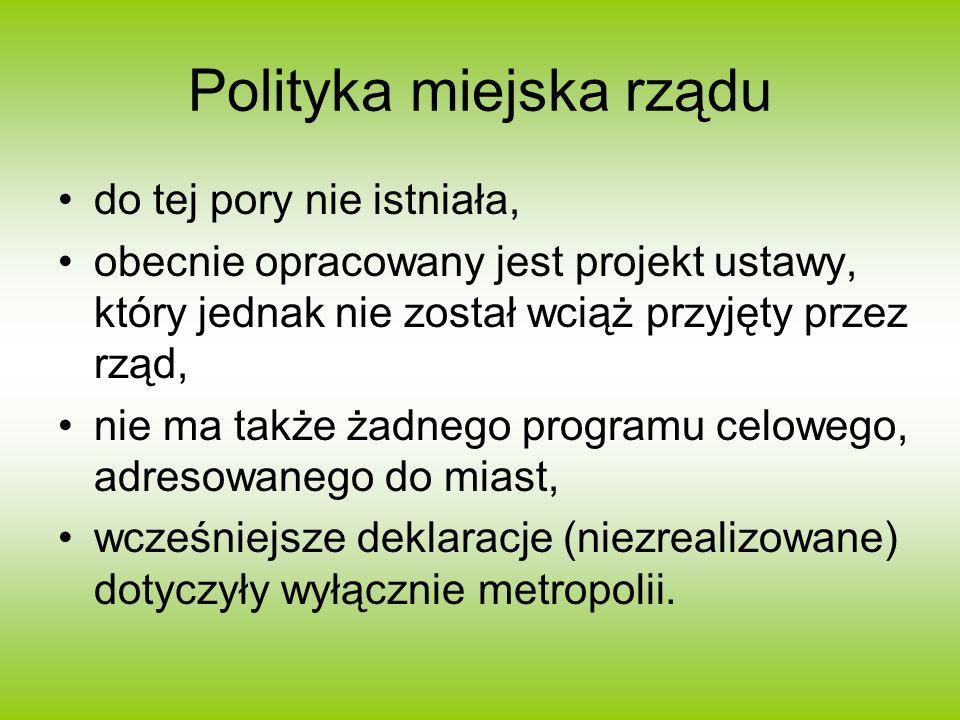 Polityka miejska rządu do tej pory nie istniała, obecnie opracowany jest projekt ustawy, który jednak nie został wciąż przyjęty przez rząd, nie ma tak