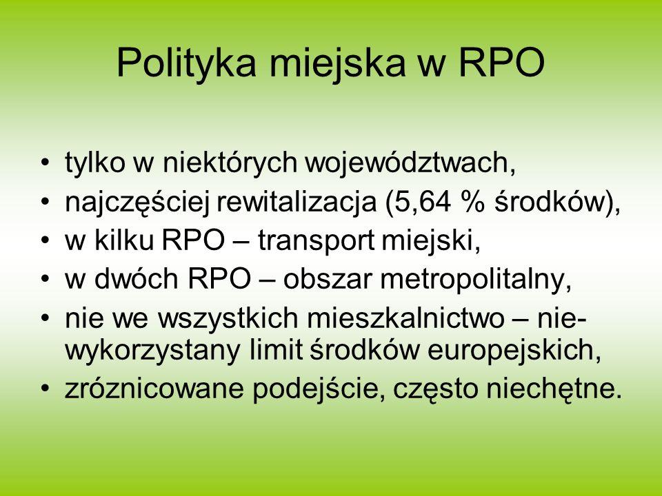 Polityka miejska w RPO tylko w niektórych województwach, najczęściej rewitalizacja (5,64 % środków), w kilku RPO – transport miejski, w dwóch RPO – obszar metropolitalny, nie we wszystkich mieszkalnictwo – nie- wykorzystany limit środków europejskich, zróznicowane podejście, często niechętne.