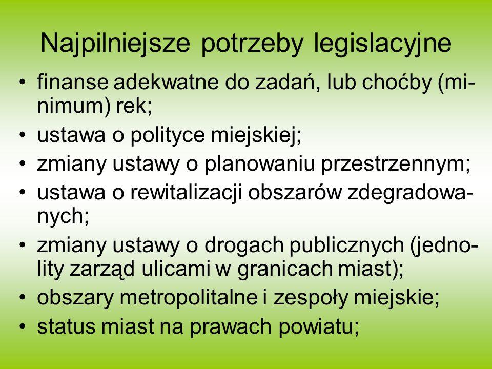 Najpilniejsze potrzeby legislacyjne finanse adekwatne do zadań, lub choćby (mi- nimum) rek; ustawa o polityce miejskiej; zmiany ustawy o planowaniu przestrzennym; ustawa o rewitalizacji obszarów zdegradowa- nych; zmiany ustawy o drogach publicznych (jedno- lity zarząd ulicami w granicach miast); obszary metropolitalne i zespoły miejskie; status miast na prawach powiatu;