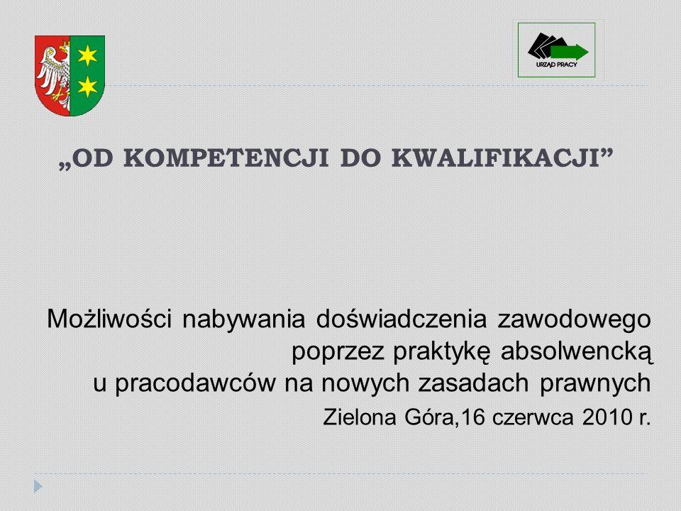OD KOMPETENCJI DO KWALIFIKACJI Możliwości nabywania doświadczenia zawodowego poprzez praktykę absolwencką u pracodawców na nowych zasadach prawnych Zielona Góra,16 czerwca 2010 r.