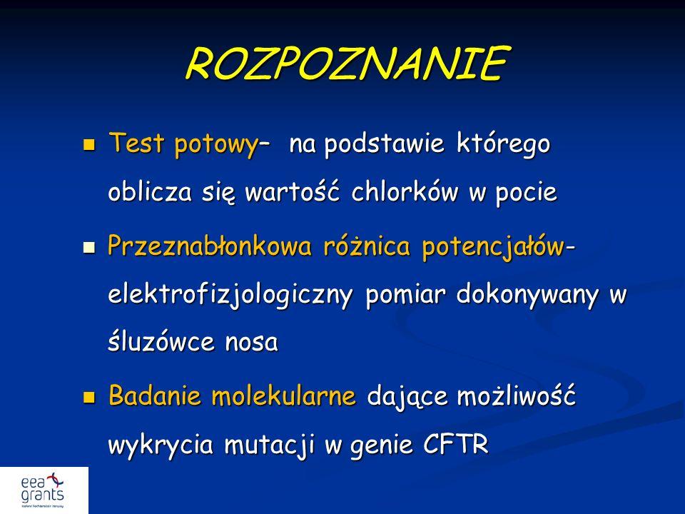 ROZPOZNANIE Test potowy– na podstawie którego oblicza się wartość chlorków w pocie Test potowy– na podstawie którego oblicza się wartość chlorków w po