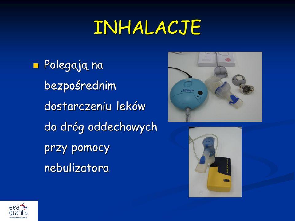 INHALACJE Polegają na bezpośrednim dostarczeniu leków do dróg oddechowych przy pomocy nebulizatora Polegają na bezpośrednim dostarczeniu leków do dróg