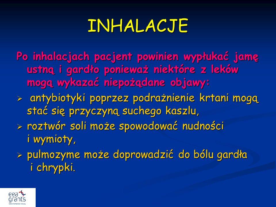 INHALACJE Po inhalacjach pacjent powinien wypłukać jamę ustną i gardło ponieważ niektóre z leków mogą wykazać niepożądane objawy: antybiotyki poprzez
