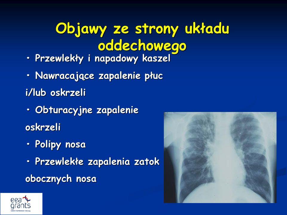 Objawy ze strony układu oddechowego Przewlekły i napadowy kaszel Przewlekły i napadowy kaszel Nawracające zapalenie płuc i/lub oskrzeli Nawracające za