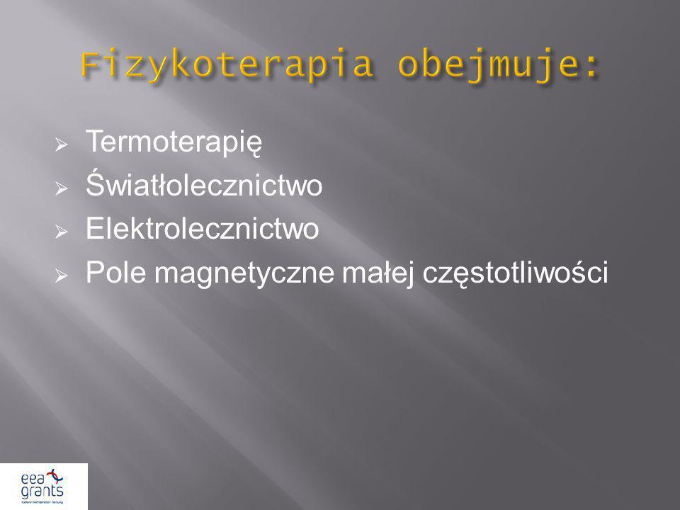 Termoterapię Światłolecznictwo Elektrolecznictwo Pole magnetyczne małej częstotliwości