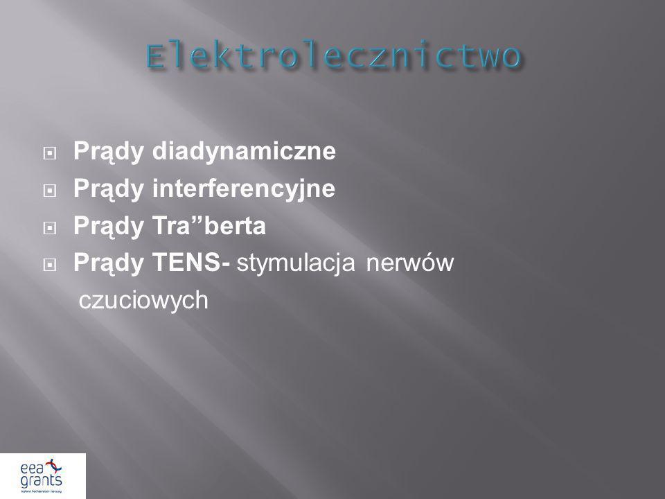 Prądy diadynamiczne Prądy interferencyjne Prądy Traberta Prądy TENS- stymulacja nerwów czuciowych