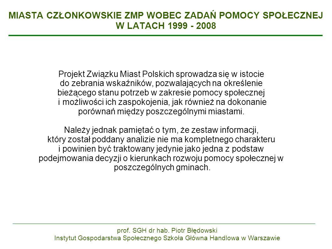 MIASTA CZŁONKOWSKIE ZMP WOBEC ZADAŃ POMOCY SPOŁECZNEJ W LATACH 1999 - 2008 Projekt Związku Miast Polskich sprowadza się w istocie do zebrania wskaźników, pozwalających na określenie bieżącego stanu potrzeb w zakresie pomocy społecznej i możliwości ich zaspokojenia, jak również na dokonanie porównań między poszczególnymi miastami.