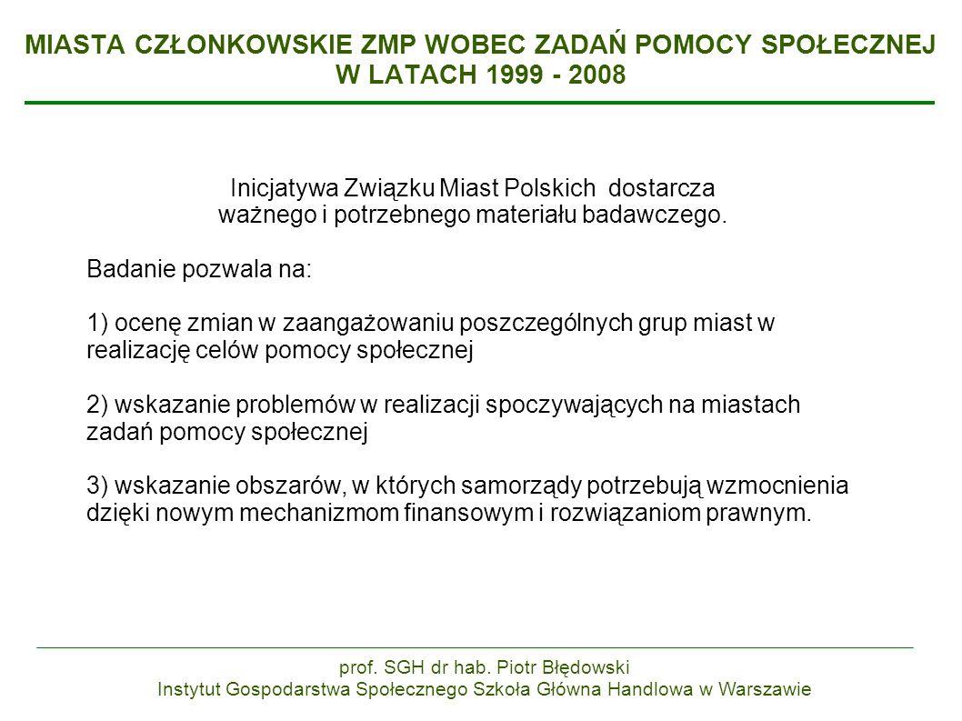 MIASTA CZŁONKOWSKIE ZMP WOBEC ZADAŃ POMOCY SPOŁECZNEJ W LATACH 1999 - 2008 Inicjatywa Związku Miast Polskich dostarcza ważnego i potrzebnego materiału badawczego.