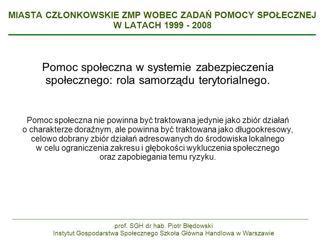 MIASTA CZŁONKOWSKIE ZMP WOBEC ZADAŃ POMOCY SPOŁECZNEJ W LATACH 1999 - 2008 Pomoc społeczna w systemie zabezpieczenia społecznego: rola samorządu terytorialnego.
