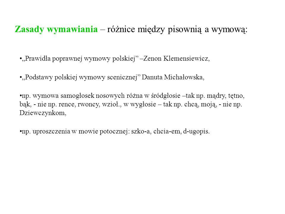 Zasady wymawiania – różnice między pisownią a wymową: Prawidła poprawnej wymowy polskiej –Zenon Klemensiewicz, Podstawy polskiej wymowy scenicznej Dan