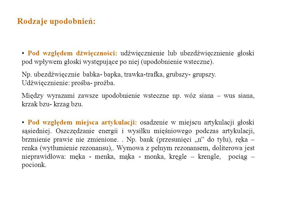Pod względem dźwięczności: udźwięcznienie lub ubezdźwięcznienie głoski pod wpływem głoski występujące po niej (upodobnienie wsteczne). Np. ubezdźwięcz