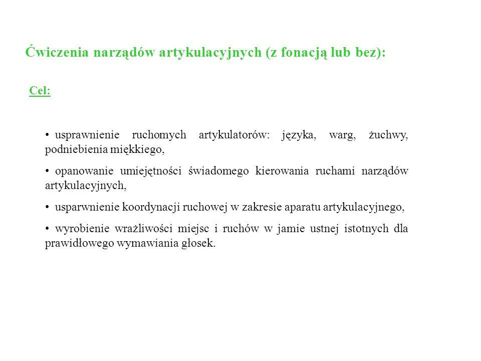 Ćwiczenia narządów artykulacyjnych (z fonacją lub bez): Cel: usprawnienie ruchomych artykulatorów: języka, warg, żuchwy, podniebienia miękkiego, opano