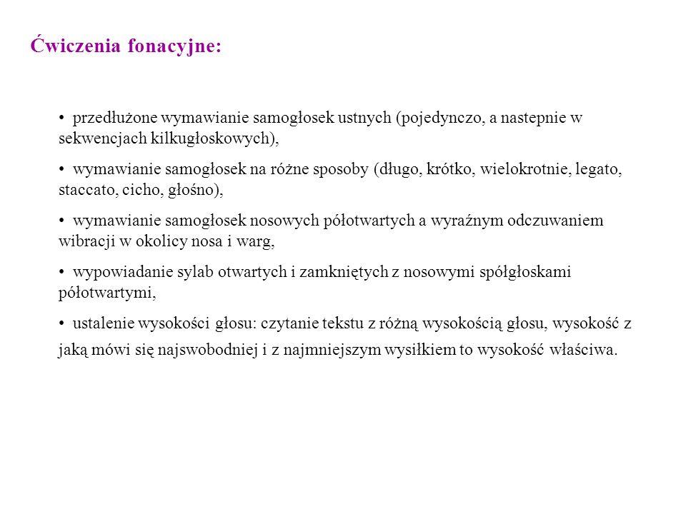 Ćwiczenia fonacyjne: przedłużone wymawianie samogłosek ustnych (pojedynczo, a nastepnie w sekwencjach kilkugłoskowych), wymawianie samogłosek na różne
