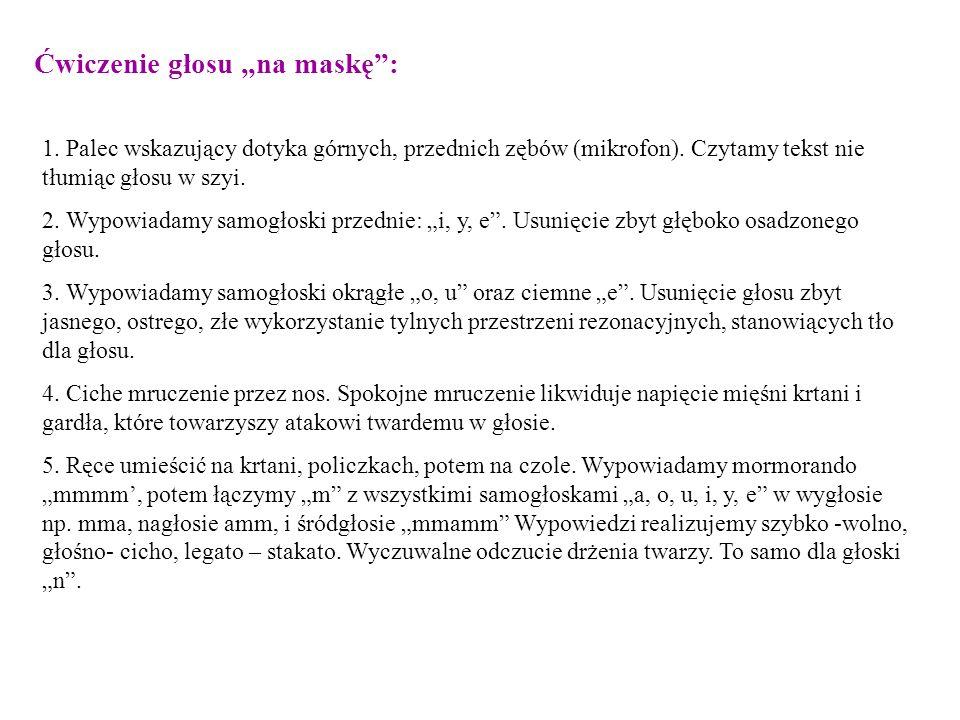 Ćwiczenie głosu na maskę: 1. Palec wskazujący dotyka górnych, przednich zębów (mikrofon). Czytamy tekst nie tłumiąc głosu w szyi. 2. Wypowiadamy samog