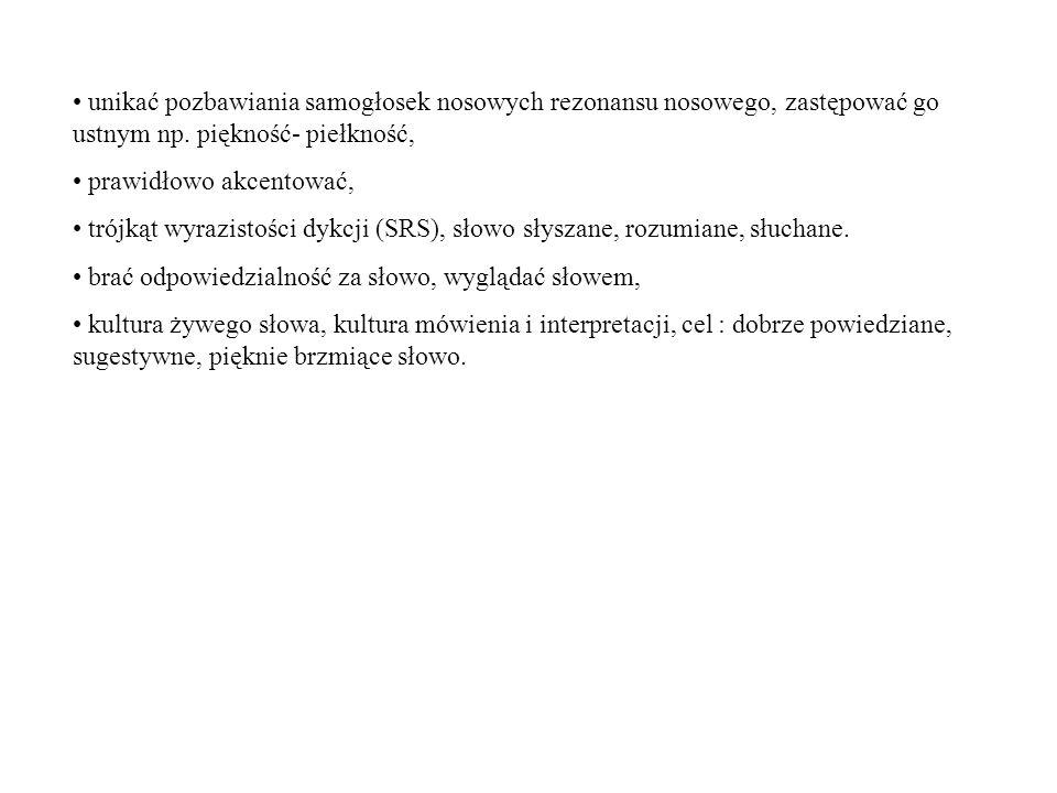 Typy wymowy: ogólnopolska, regionalna, gwarowa, staranna (wysoka(, potoczna (średnia, szkolna, naturalna), niestaranna (niska, swobodna), szybka (allegro), wolna (lento).