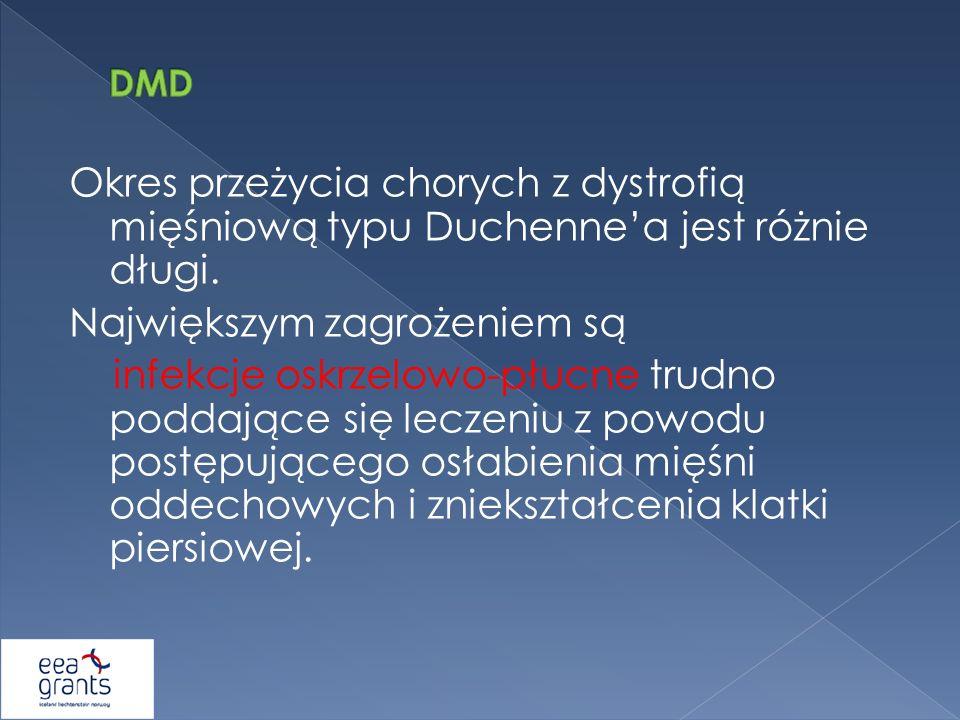 Okres przeżycia chorych z dystrofią mięśniową typu Duchennea jest różnie długi. Największym zagrożeniem są infekcje oskrzelowo-płucne trudno poddające