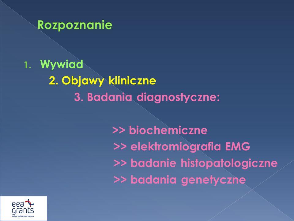 1. Wywiad 2. Objawy kliniczne 3. Badania diagnostyczne: >> biochemiczne >> elektromiografia EMG >> badanie histopatologiczne >> badania genetyczne