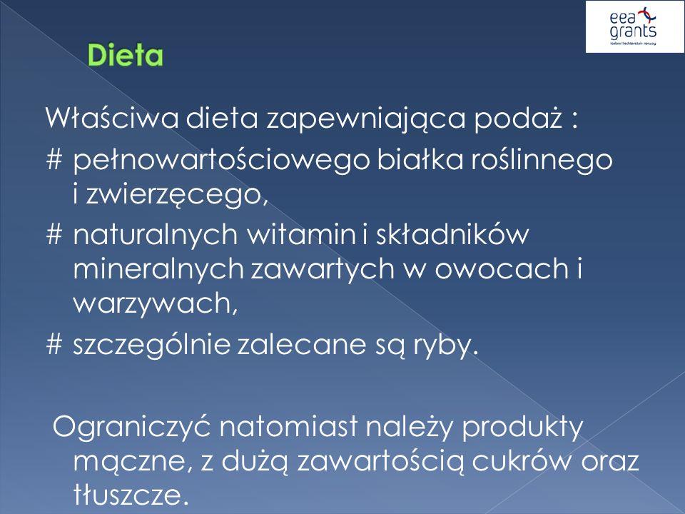 Właściwa dieta zapewniająca podaż : # pełnowartościowego białka roślinnego i zwierzęcego, # naturalnych witamin i składników mineralnych zawartych w o