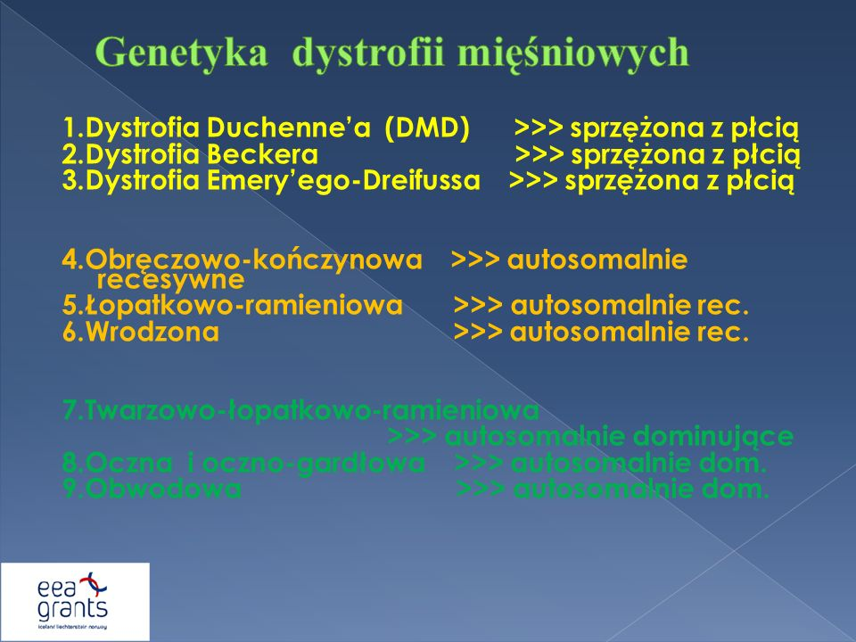1.Dystrofia Duchennea (DMD) >>> sprzężona z płcią 2.Dystrofia Beckera >>> sprzężona z płcią 3.Dystrofia Emeryego-Dreifussa >>> sprzężona z płcią 4.Obr