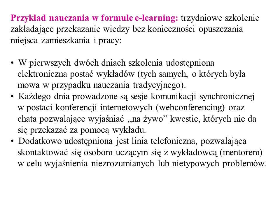 Przykład nauczania w formule e-learning: trzydniowe szkolenie zakładające przekazanie wiedzy bez konieczności opuszczania miejsca zamieszkania i pracy