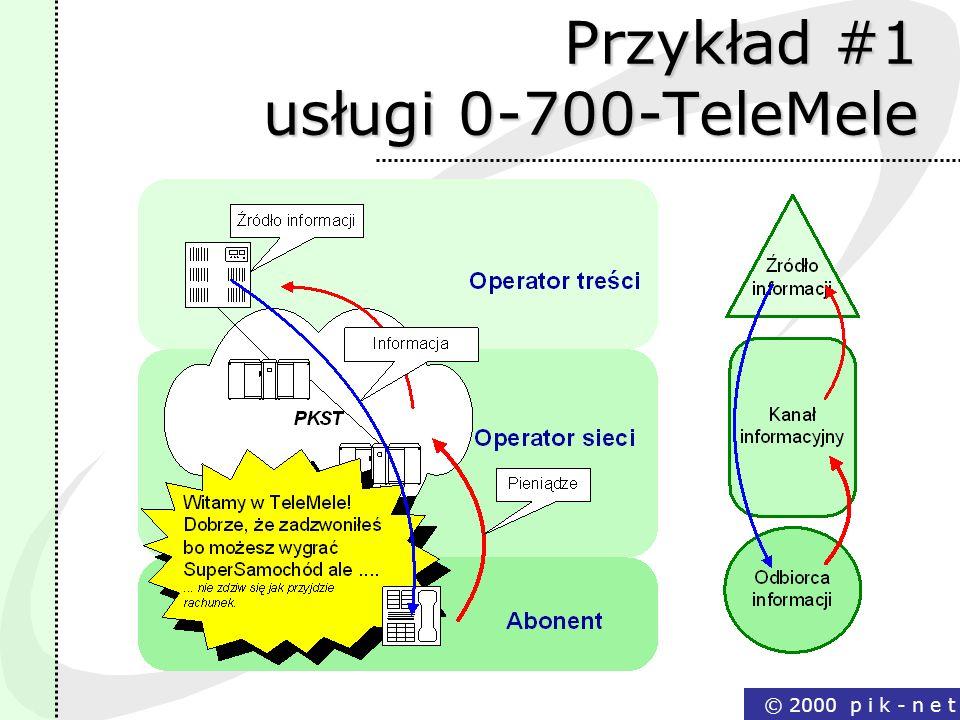 © 2000 p i k - n e t Przykład #1 usługi 0-700-TeleMele