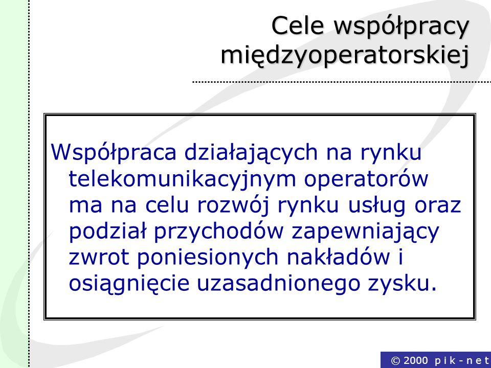 © 2000 p i k - n e t Cele współpracy międzyoperatorskiej Współpraca działających na rynku telekomunikacyjnym operatorów ma na celu rozwój rynku usług