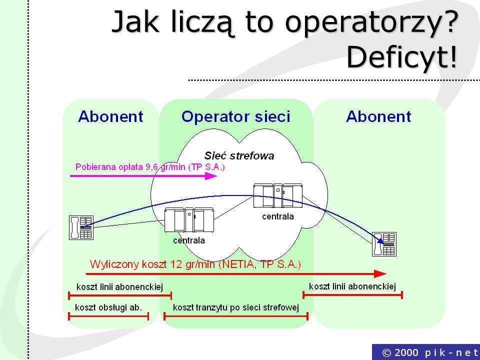 © 2000 p i k - n e t Jak liczą to operatorzy? Deficyt!