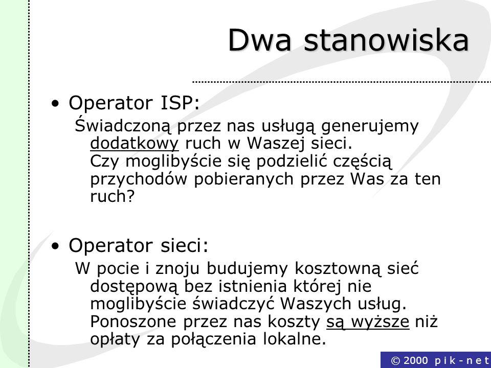 © 2000 p i k - n e t Dwa stanowiska Operator ISP: Świadczoną przez nas usługą generujemy dodatkowy ruch w Waszej sieci. Czy moglibyście się podzielić