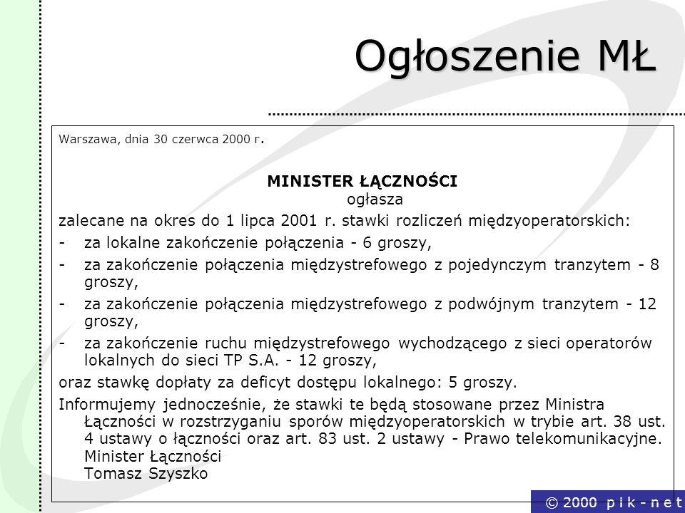 © 2000 p i k - n e t Ogłoszenie MŁ Warszawa, dnia 30 czerwca 2000 r. MINISTER ŁĄCZNOŚCI ogłasza zalecane na okres do 1 lipca 2001 r. stawki rozliczeń