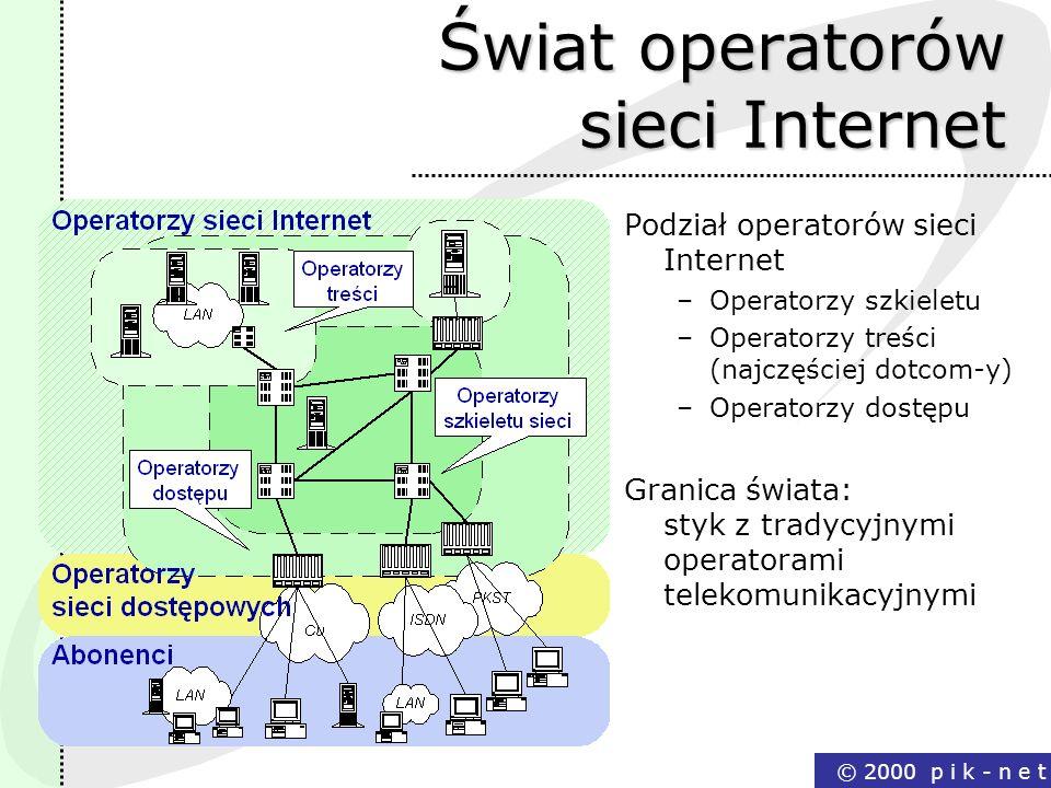 © 2000 p i k - n e t Świat operatorów sieci Internet Podział operatorów sieci Internet –Operatorzy szkieletu –Operatorzy treści (najczęściej dotcom-y)