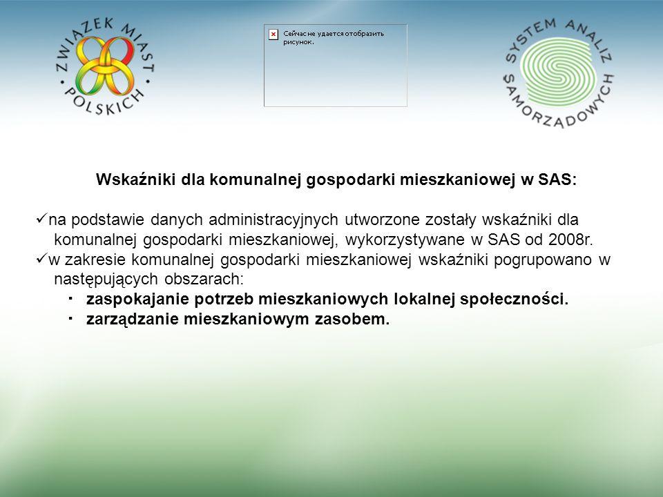 11 Wskaźniki dla komunalnej gospodarki mieszkaniowej w SAS: na podstawie danych administracyjnych utworzone zostały wskaźniki dla komunalnej gospodarki mieszkaniowej, wykorzystywane w SAS od 2008r.