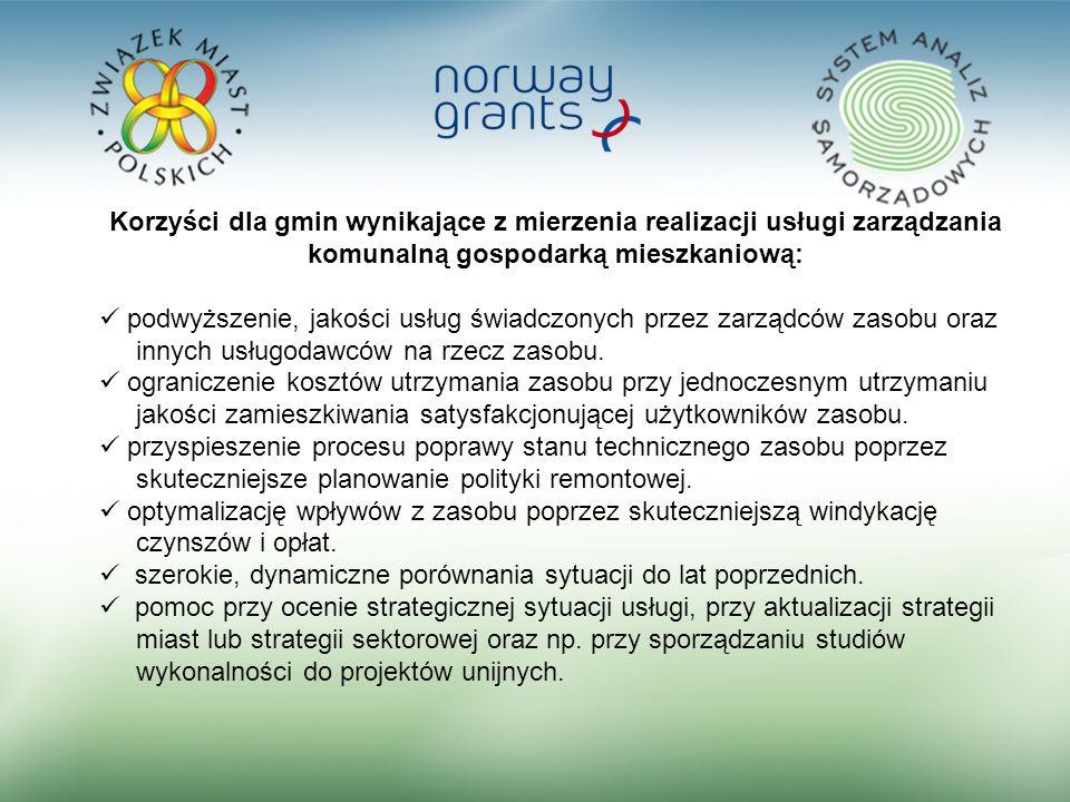 3 Korzyści dla gmin wynikające z mierzenia realizacji usługi zarządzania komunalną gospodarką mieszkaniową: podwyższenie, jakości usług świadczonych przez zarządców zasobu oraz innych usługodawców na rzecz zasobu.