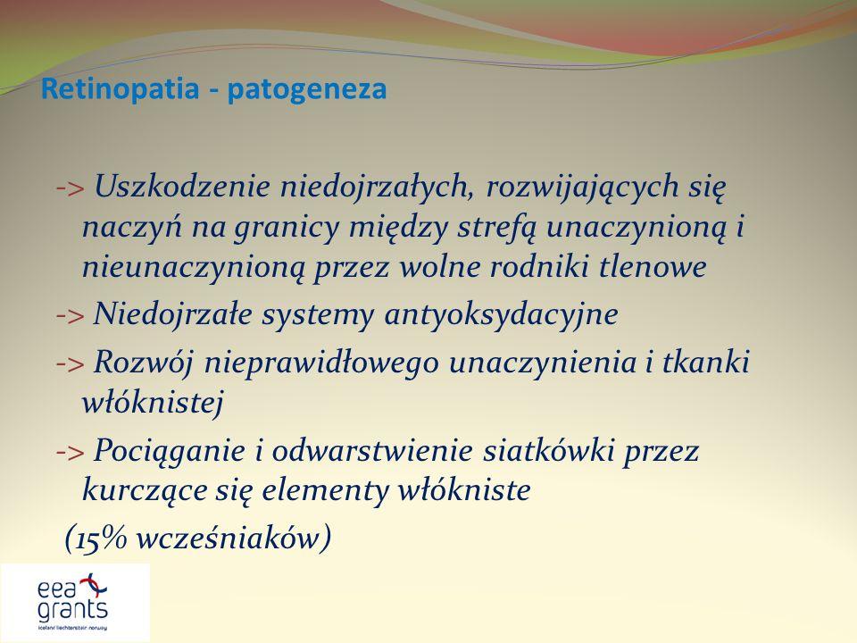 Retinopatia - patogeneza -> Uszkodzenie niedojrzałych, rozwijających się naczyń na granicy między strefą unaczynioną i nieunaczynioną przez wolne rodn