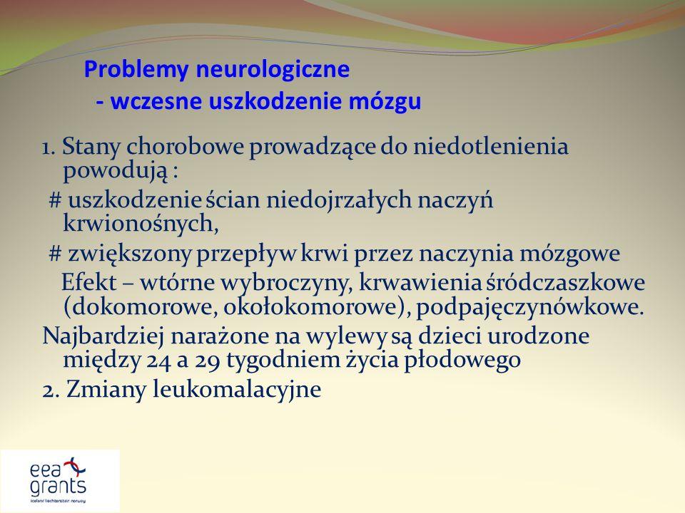 Problemy neurologiczne - wczesne uszkodzenie mózgu 1. Stany chorobowe prowadzące do niedotlenienia powodują : # uszkodzenie ścian niedojrzałych naczyń