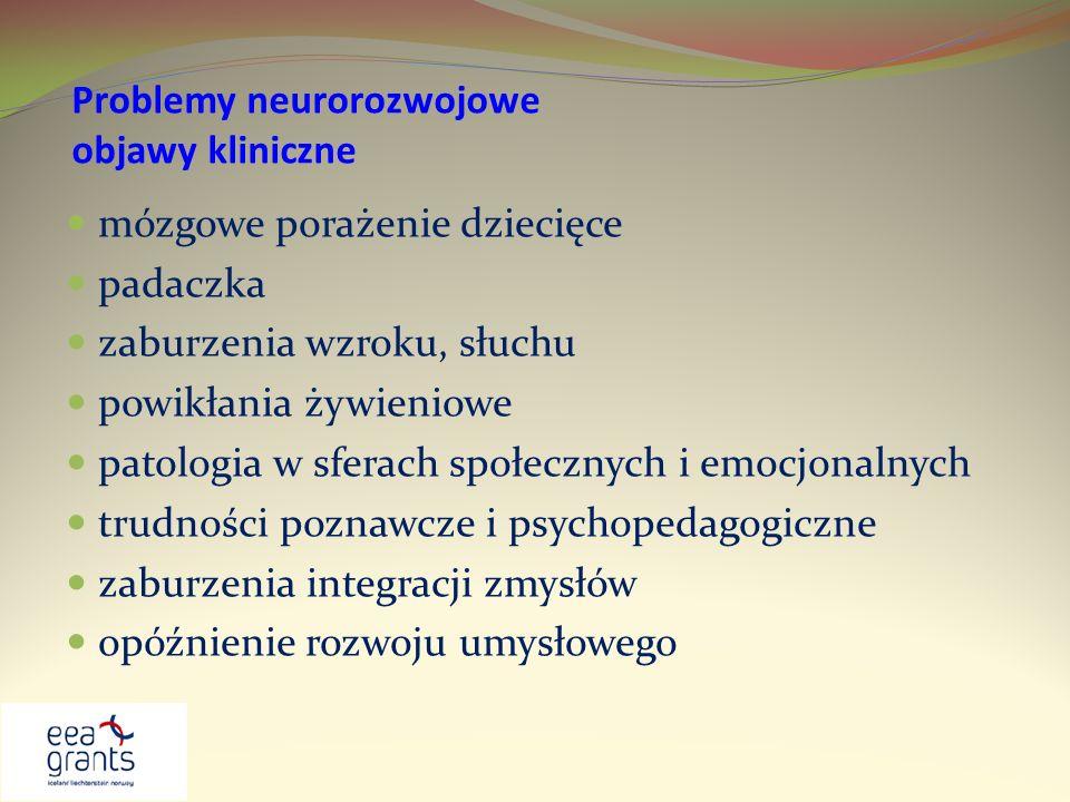 Problemy neurorozwojowe objawy kliniczne mózgowe porażenie dziecięce padaczka zaburzenia wzroku, słuchu powikłania żywieniowe patologia w sferach społ