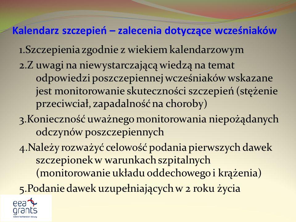 Kalendarz szczepień – zalecenia dotyczące wcześniaków 1.Szczepienia zgodnie z wiekiem kalendarzowym 2.Z uwagi na niewystarczającą wiedzą na temat odpo