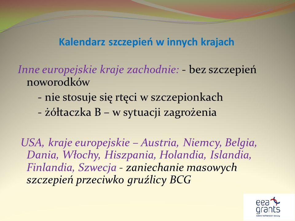 Kalendarz szczepień w innych krajach Inne europejskie kraje zachodnie: - bez szczepień noworodków - nie stosuje się rtęci w szczepionkach - żółtaczka