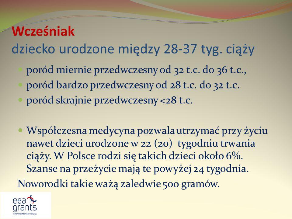 Wcześniak dziecko urodzone między 28-37 tyg. ciąży poród miernie przedwczesny od 32 t.c. do 36 t.c., poród bardzo przedwczesny od 28 t.c. do 32 t.c. p