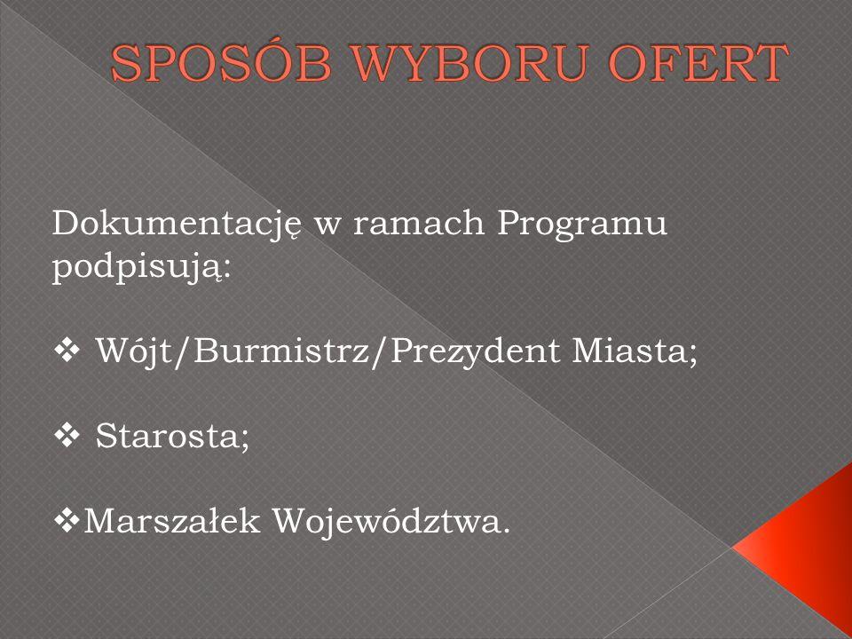 Dokumentację w ramach Programu podpisują: Wójt/Burmistrz/Prezydent Miasta; Starosta; Marszałek Województwa.