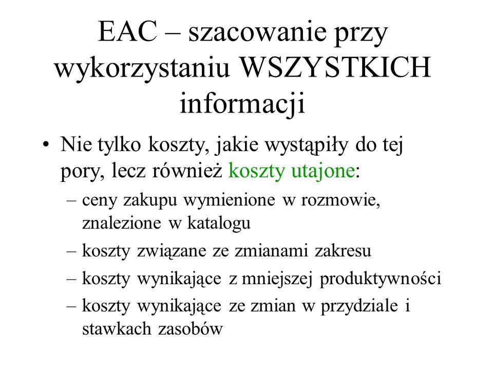 EAC – szacowanie przy wykorzystaniu WSZYSTKICH informacji Nie tylko koszty, jakie wystąpiły do tej pory, lecz również koszty utajone: –ceny zakupu wym