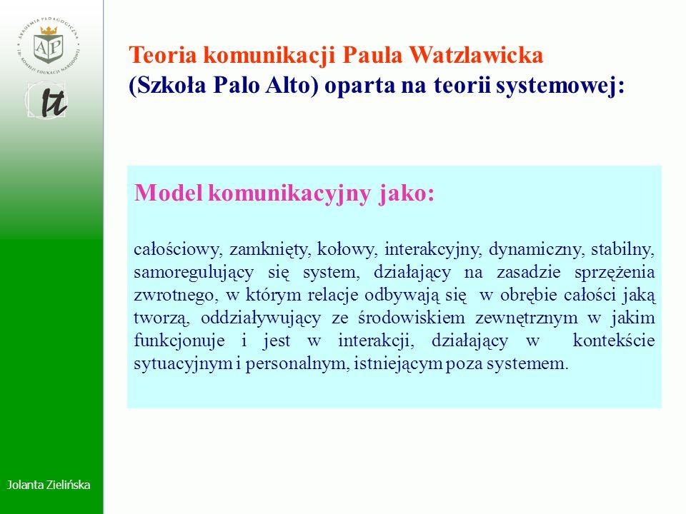 Jolanta Zielińska Teoria komunikacji Paula Watzlawicka (Szkoła Palo Alto) oparta na teorii systemowej: Model komunikacyjny jako: całościowy, zamknięty