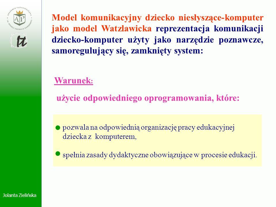 Jolanta Zielińska Model komunikacyjny dziecko niesłyszące-komputer jako model Watzlawicka reprezentacja komunikacji dziecko-komputer użyty jako narzęd