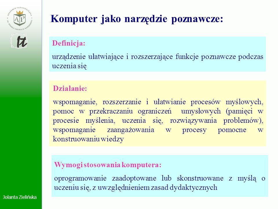 Jolanta Zielińska Komputer jako narzędzie poznawcze: Definicja: urządzenie ułatwiające i rozszerzające funkcje poznawcze podczas uczenia się Działanie